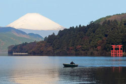 Lake Ashinoko with snowy Mt. Fuji in the background