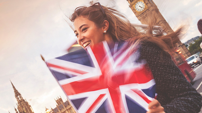 Girl with UK Flag