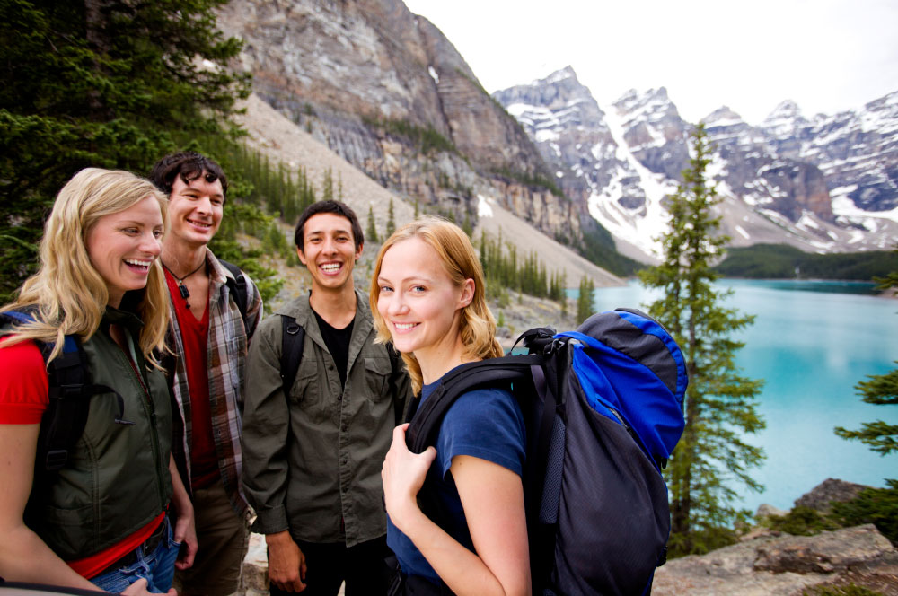 Group of Students Backpacking