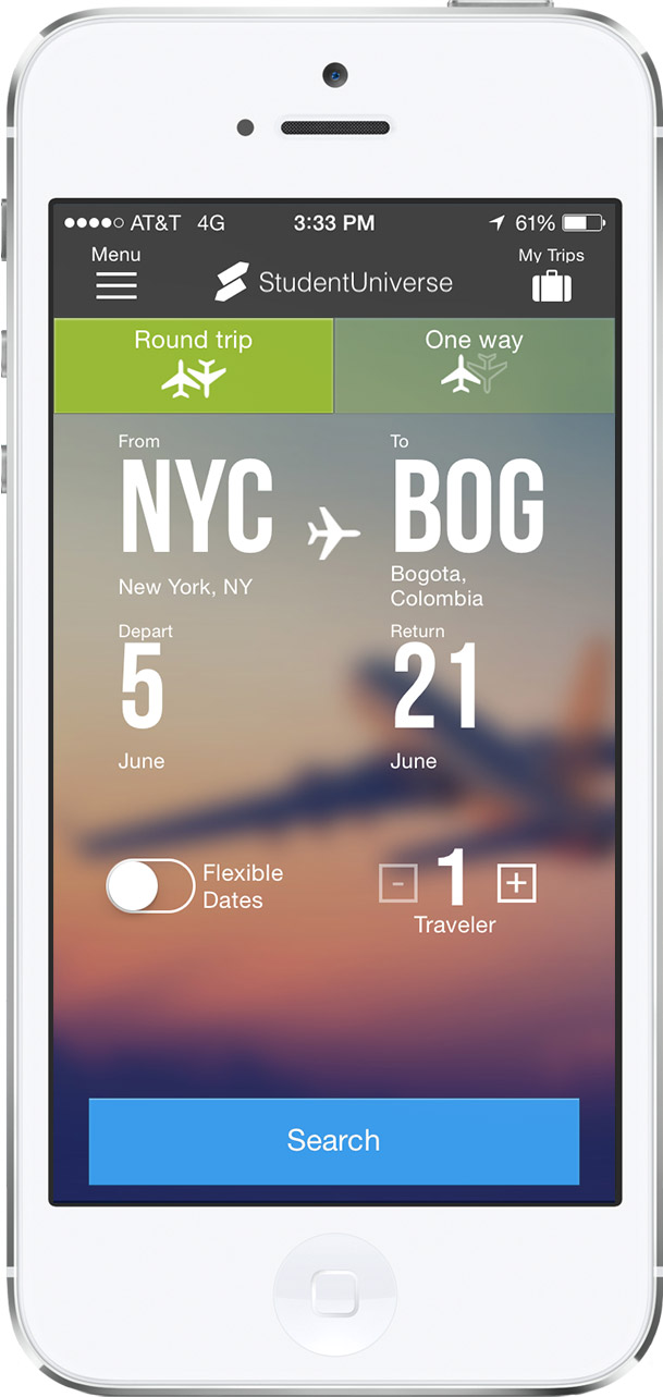 Flights by StudentUniverse mobile app example on phone