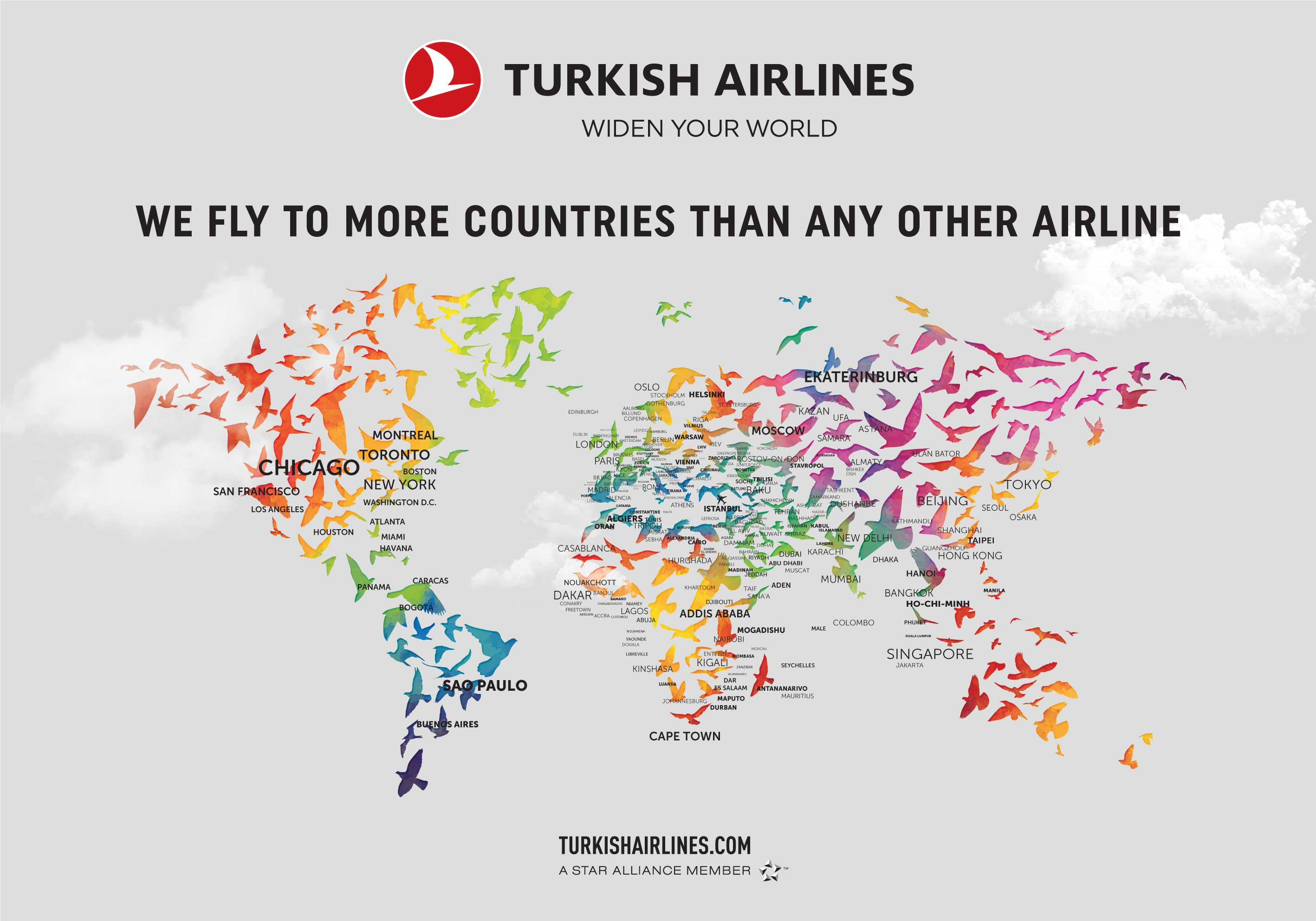 Turkish airlines flights map