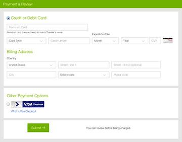 Visa Checkout page